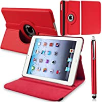 ROTATING 360 (RED) PU LEATHER CASE COVER FOR IPAD 2 AND 3 AND 4 4TH GEN INCLUDES STYLUS PEN ( NOT COMPATIBLE FOR IPAD AIR / AIR 2 / 2017 LAUNCHED IPAD)