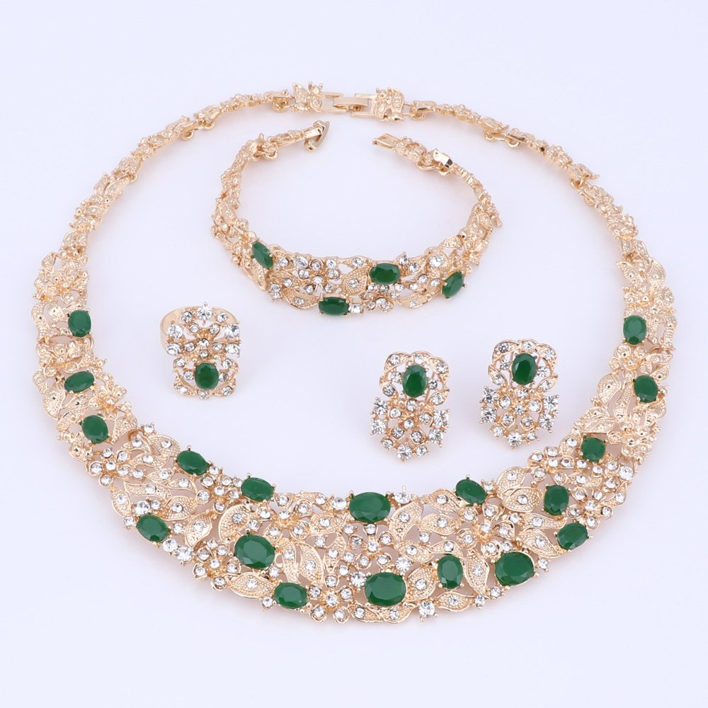 Women Bridal Fine Crystal African Beads Jewelry Sets For Wedding Party Dinner Dress Necklace Earring Bangle Ring Kit Gift (Green) by WANG (Image #3)