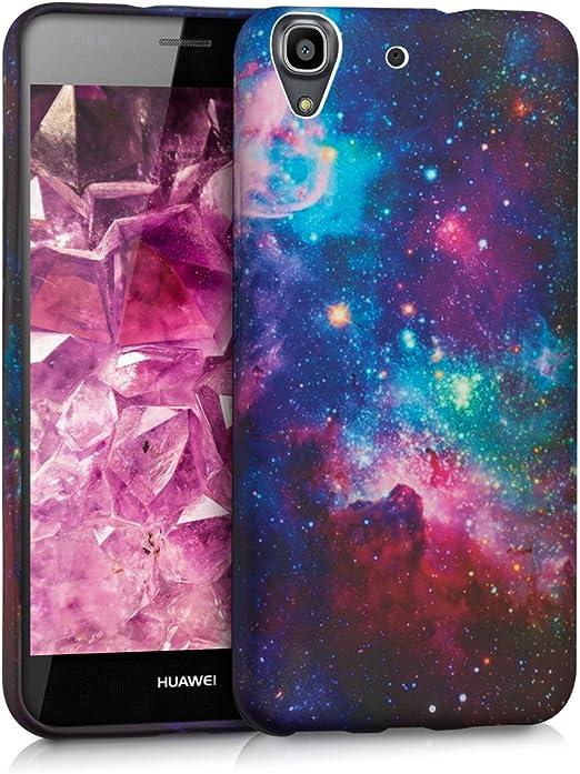 vague TPU Coque en silicone pour > Huawei Y6 < Espace de Motif multicolore Rose foncé Noir – étui tendance en Premium TPU souple