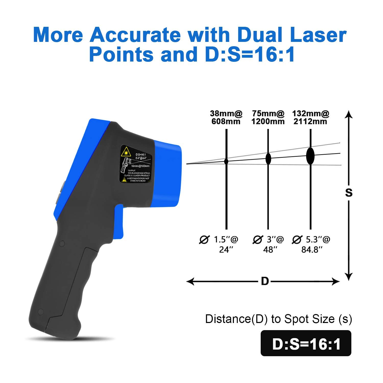 Term/ómetro infrarrojo HP-985C Term/ómetro de temperatura l/áser digital sin contacto con retroiluminaci/ón LCD SOLO PARA uso industrial