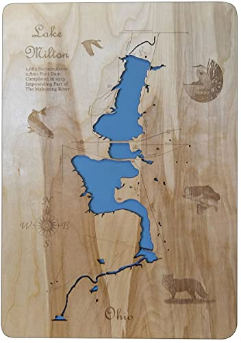 Lake Milton Ohio Map.Amazon Com Lake Milton Ohio Standout Wood Map Wall Hanging Handmade