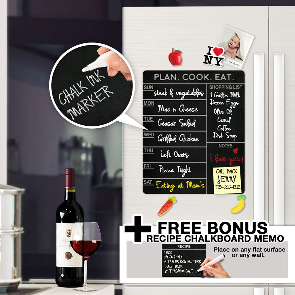 Modern Chalkboard Weekly Meal Planner - With Free Bonus Memo - Menu Schedule , Organizer , Refrigerator Decal Menu Board - A Todeco Product