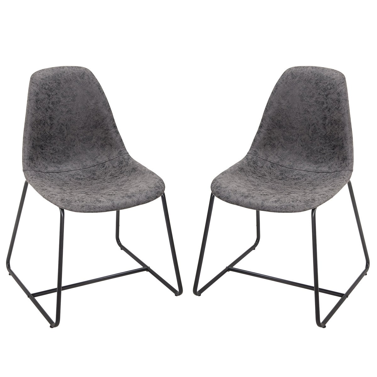 Harper&Bright Designs Eames Style Dining Side Chairs Vintage PU Leather with Metal Legs and Padded Seat & Back Set of 2 (Grey)