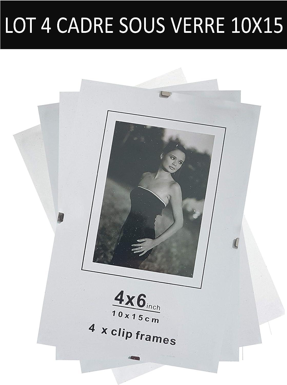 Lot de 4 sous verre cadre /à clip 10x15 /épaisseur 4,5 l/él/égance de la simplicit/é Mettez en valeur et prot/égez vos photos