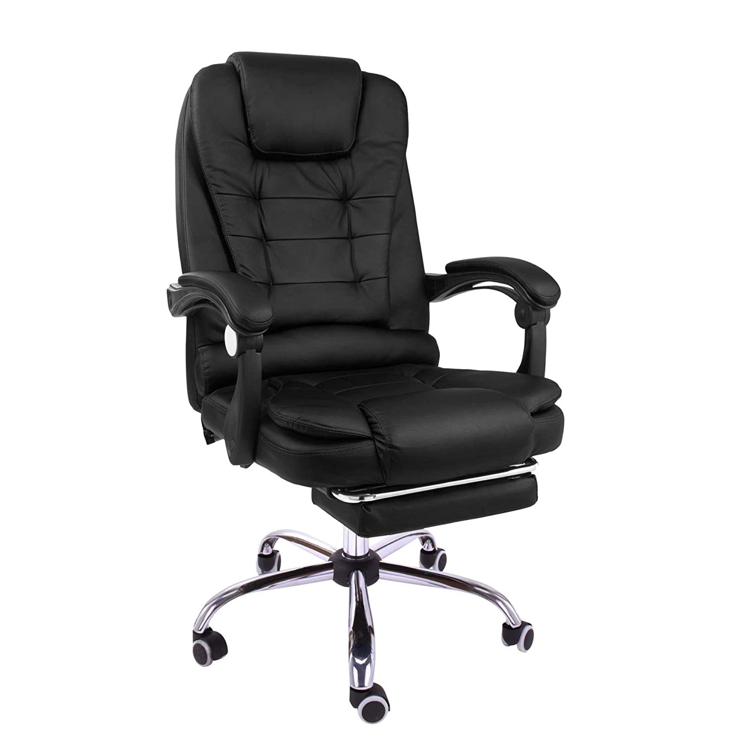 Halter Reclining Leather Office Chair - Modern Executive Adjustable Rolling Swivel Chair Headrest with Retractable Footrest (Black)