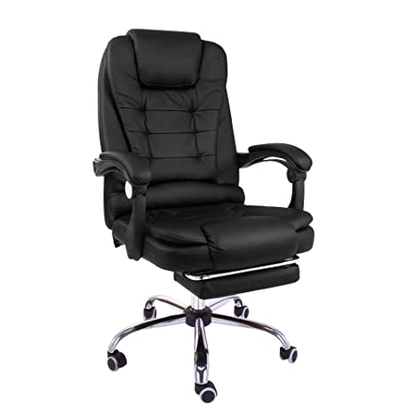 Cool Halter Reclining Leather Office Chair Modern Executive Adjustable Rolling Swivel Chair Headrest With Retractable Footrest Black Machost Co Dining Chair Design Ideas Machostcouk