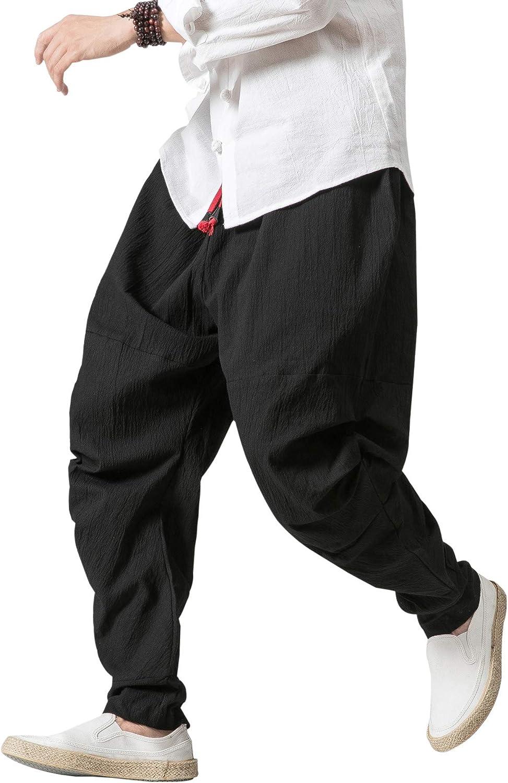UUYUK Men Fashion Hip Hop Harem Pockets Plaid Print Jogger Pants