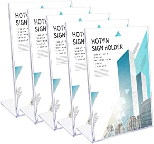 Hotyin Sign Holder - Slant Acrylic Sign Holder 8.3 x 11.7 Inches, Clear Display Stand for Home, Office, School (5 Pack)