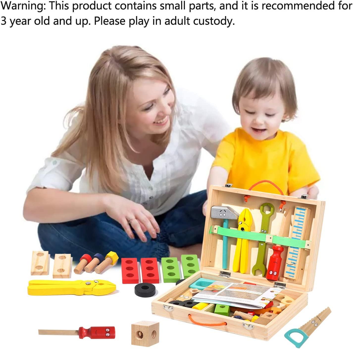 Gift for Toddlers 3 Year Old and Up Boys Girls DRESSPLUS Tool Set for Toddlers Creative DIY Educational Construction Kids Toy Wooden Simulation Toolbox Kit