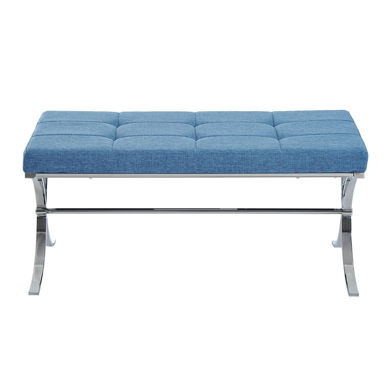 "Amazon.com: HomCom 39"" Contemporary Tufted Curved Leg Entryway Bench ..."