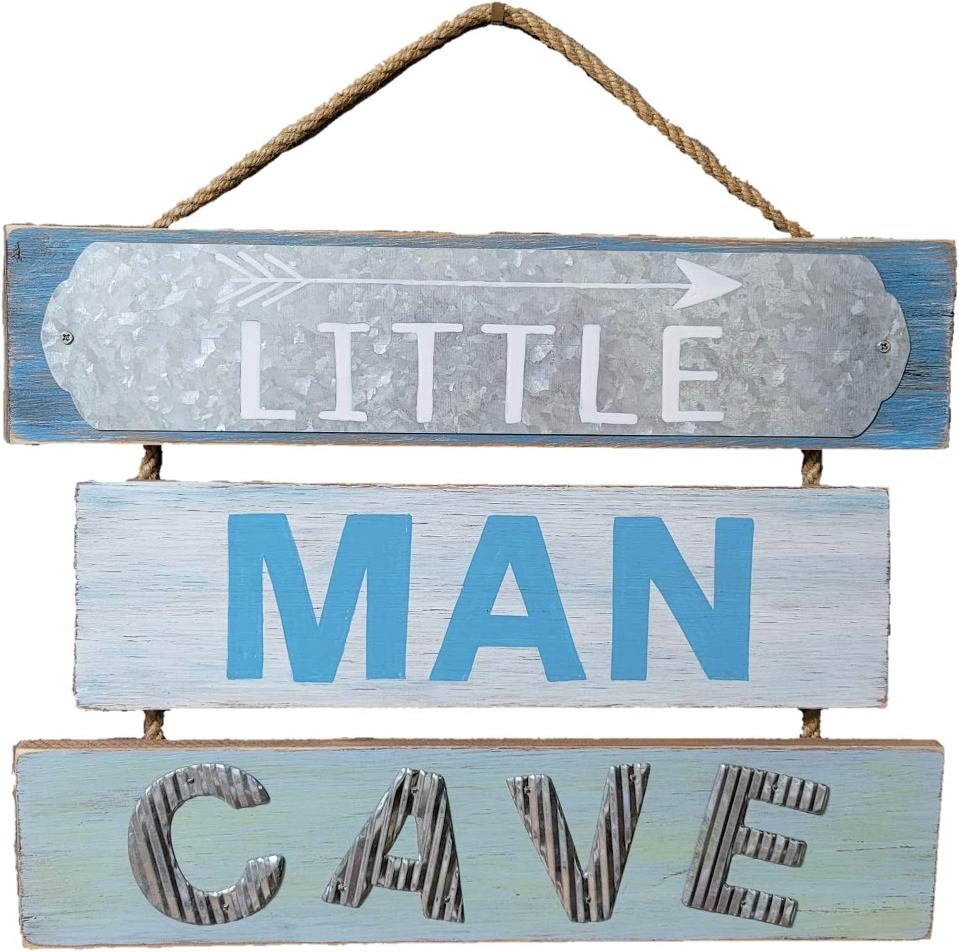 Blooming Party Nursery Wall Decor for Little Baby Boy or Toddler - Little Man Cave Wood Sign (Blue)