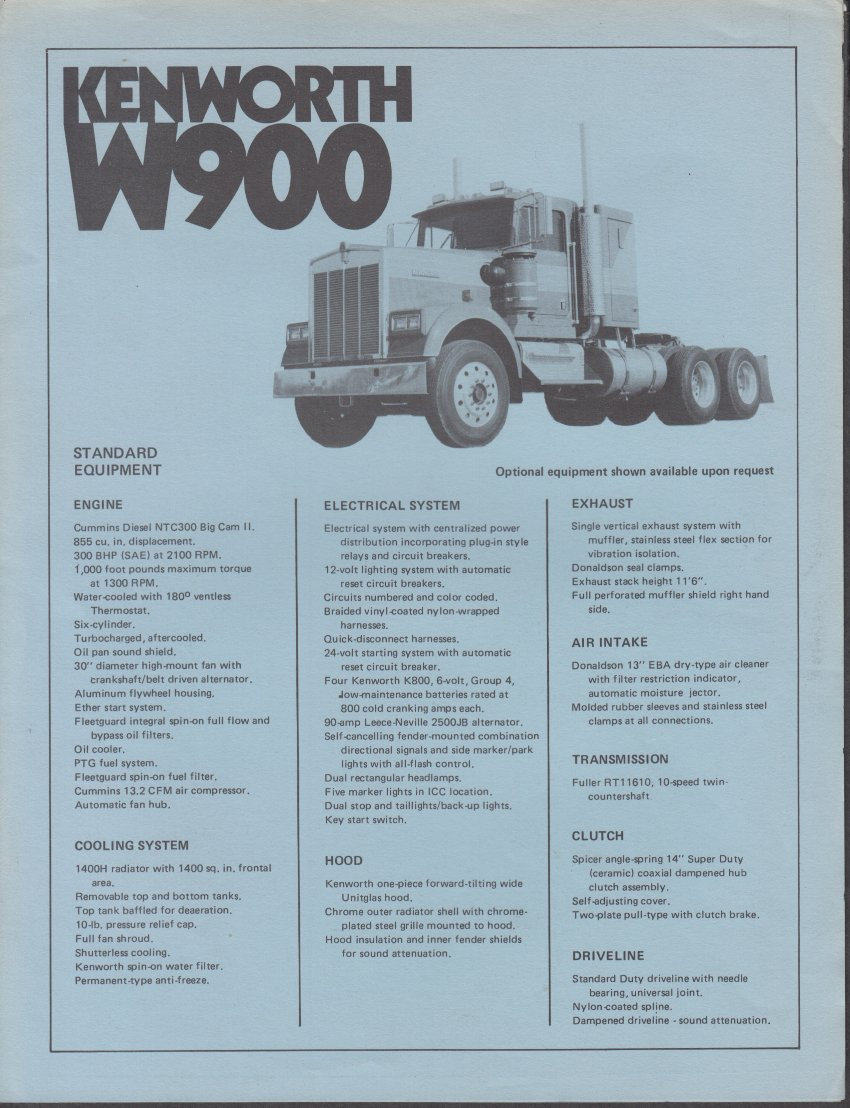 Kenworth W900 Fan Clutch 2002 Wiring Diagram Semi Tractor Truck Sales Folder At Amazons Entertainment Collectibles Store 850x1108
