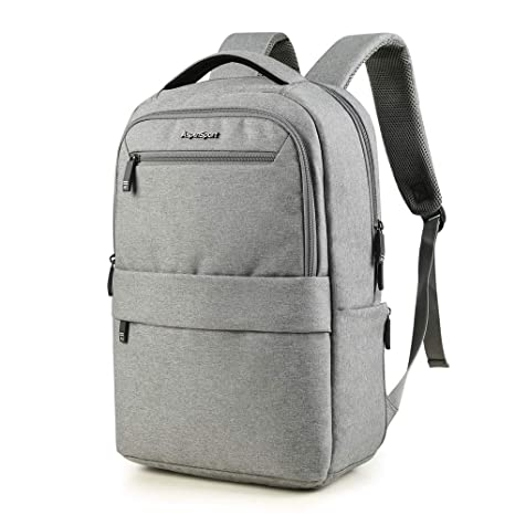 83984d16466e ASPENSPORT Slim Laptop Backpack Fit 15.6 inch Business Travel Computer Bag  with Luggage Strap Water Repellent Daypack for Men & Woman Light Grey