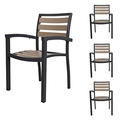Incredible Karmas Product Stackable Aluminum Patio Dining Chairs Indoor Outdoor Slat Chair With Armrest Metal Restaurant Stack Chair Brown Gray Set Of 4 Beutiful Home Inspiration Aditmahrainfo