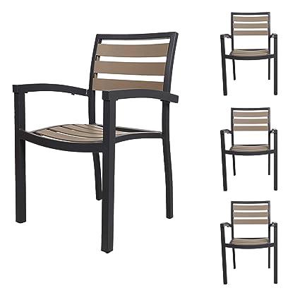 Magnificent Karmas Product Stackable Aluminum Patio Dining Chairs Indoor Outdoor Slat Chair With Armrest Metal Restaurant Stack Chair Brown Gray Set Of 4 Inzonedesignstudio Interior Chair Design Inzonedesignstudiocom
