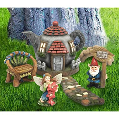 LA JOLIE MUSE Fairy Garden Gnome Accessories Kit - Hand Painted Miniature Teapot Fairy House Figurine Set of 6 pcs, Gift for Girls Boys Adults, Indoor Outdoor Yard Lawn Decoration