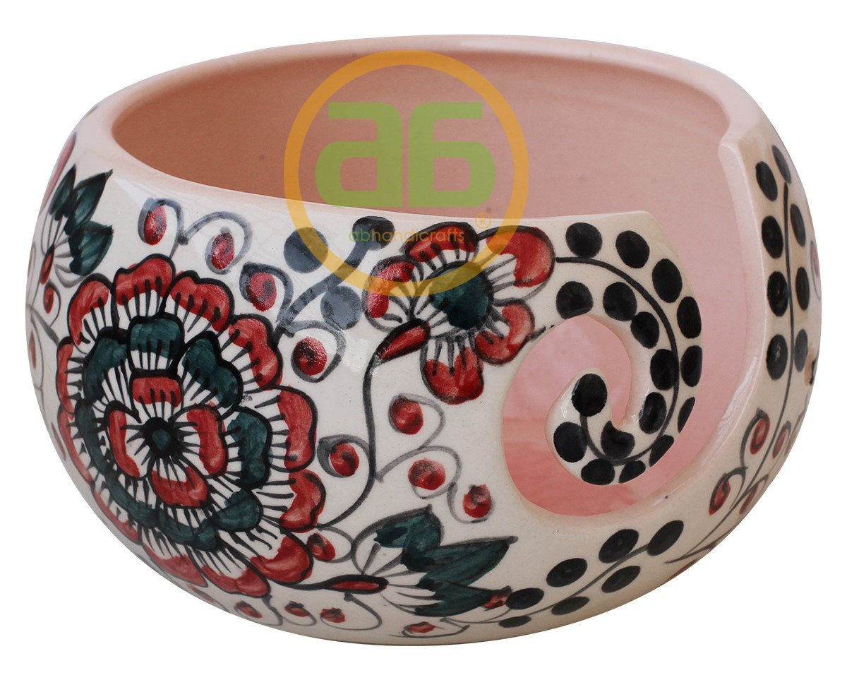 Big Sale Offer - 7 Inch Handcrafted Ceramic Knitting Yarn Bowl, Yarn Storage with Beautiful Multi Layered Flower Petals Design Yarn Bowl, Gifts for her, Gifts for People Who Knit or Crochet