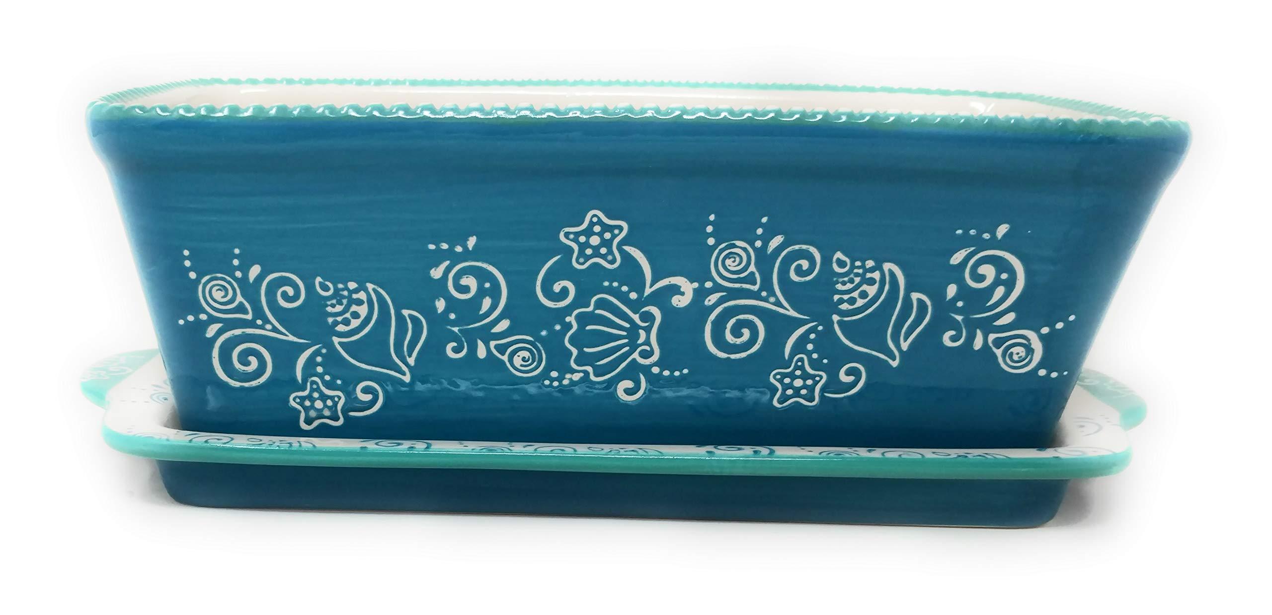 Temp-tations Loaf Pan w/Lid-it(Tray), 1.0 Quart, 8'' x 4.5'', Stoneware (Floral Lace Summer)
