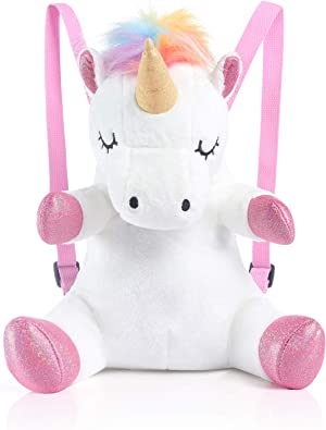 meowtastic Toddler Backpack, Kids Backpack Small Cute Mini Unicorn Plush 16″ Backpack for Girls Boys Kids, Small, Upgraded.