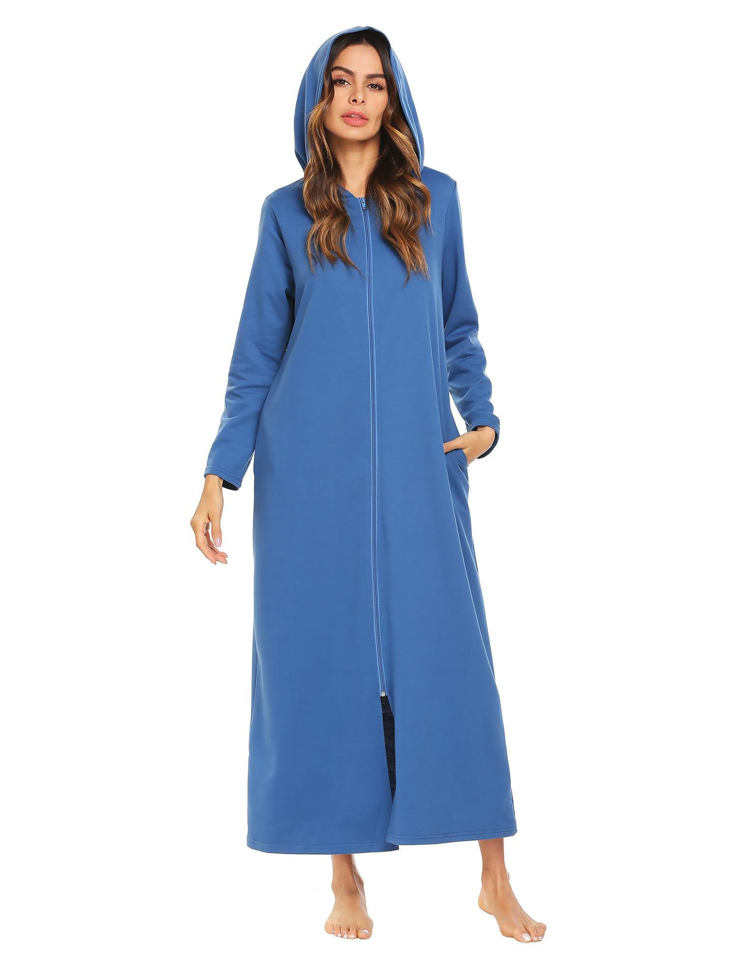 Jingjing1 Women Long Sleeve Hoodie Sleepwear Zip-Front A-line Bathrobe Long Robe (Large, Blue)
