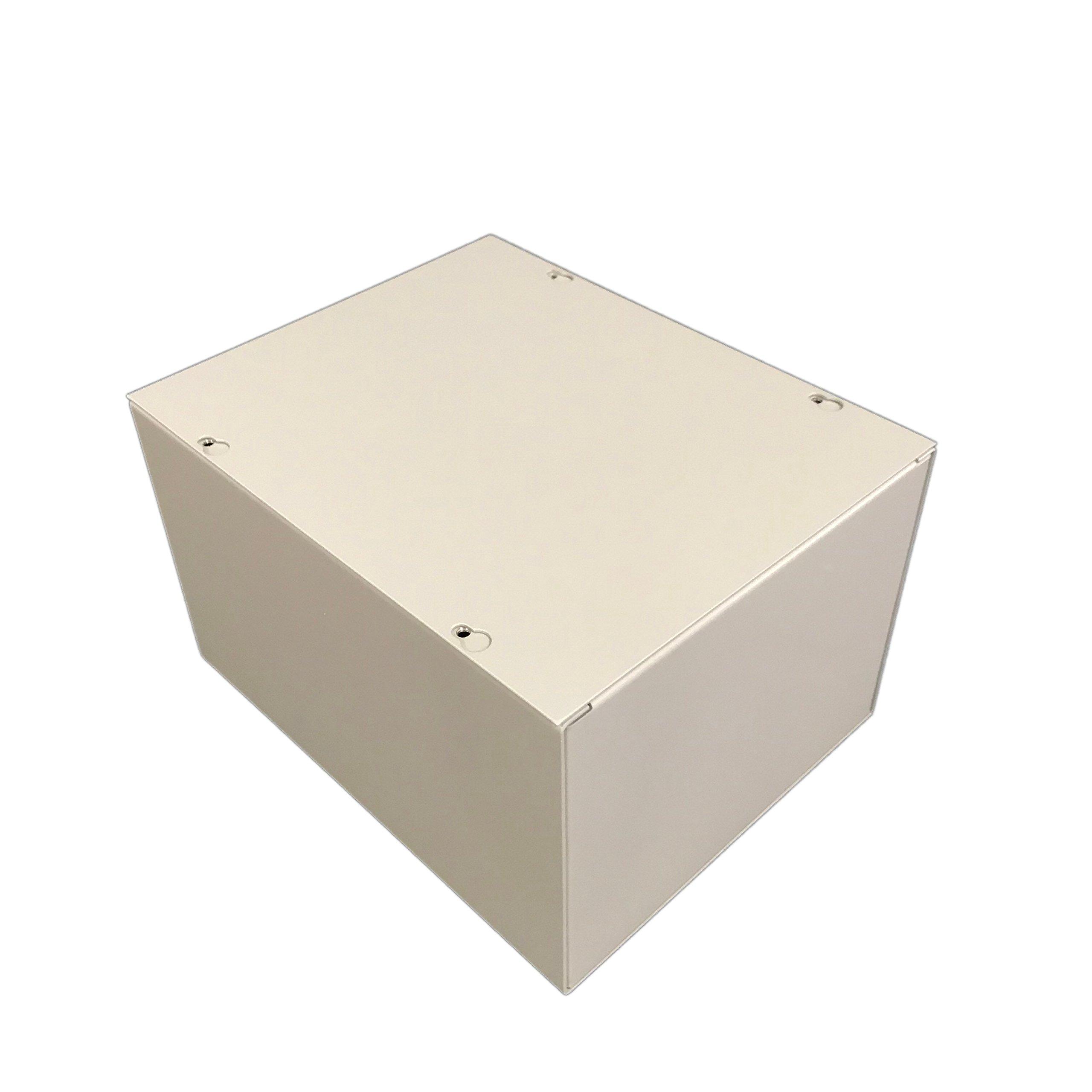 BUD Industries JB-3959 Steel NEMA 1 Sheet Metal Junction Box with Lift-off Screw Cover, 8'' Width x 10'' Height x 6'' Depth, Gray Finish