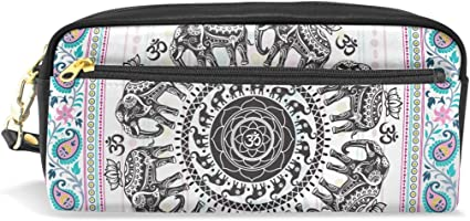 Hippie Mandala de India Elefantes piel sintética estuche portátil bolsa de pluma Organizador Papelería Caso Maquillaje bolsa de cosméticos: Amazon.es: Oficina y papelería