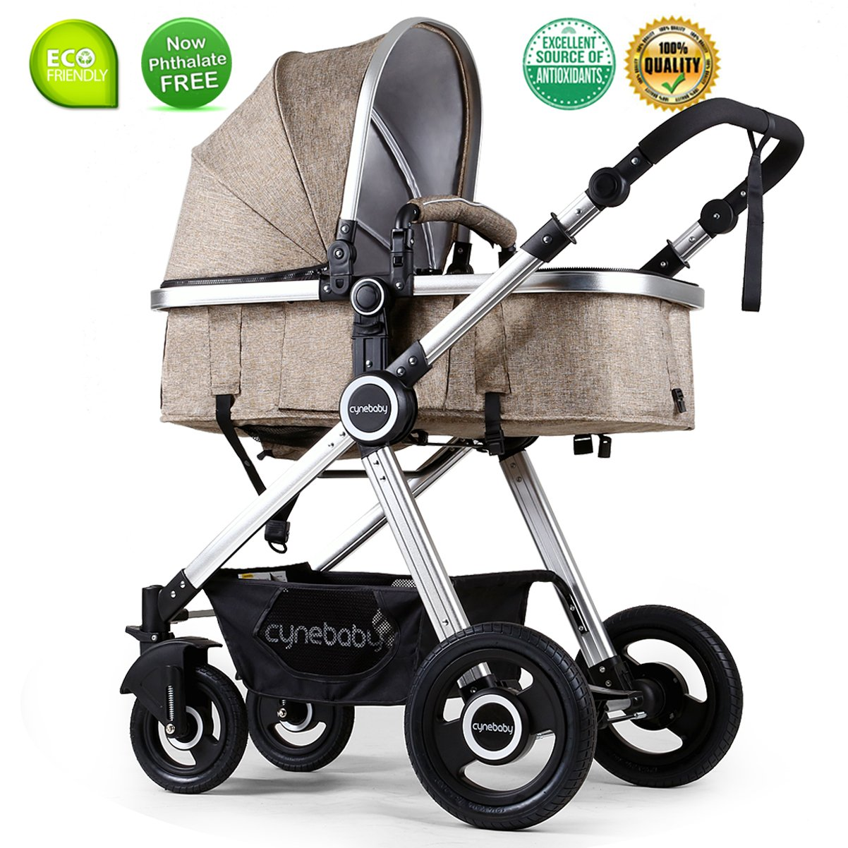 Infant Toddler Stroller Folding Convertible Carriage Infant Anti-Shock High View Luxury Baby Stroller Newborn Pram Stroller Pushchair Stroller for Babies(Light Camel) by Cynebaby (Image #1)
