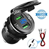 Quick Charge 3.0 Car Charger, CHGeek 12V/24V 36W Waterproof Dual QC3.0 USB Fast Charger Socket Power Outlet with LED…