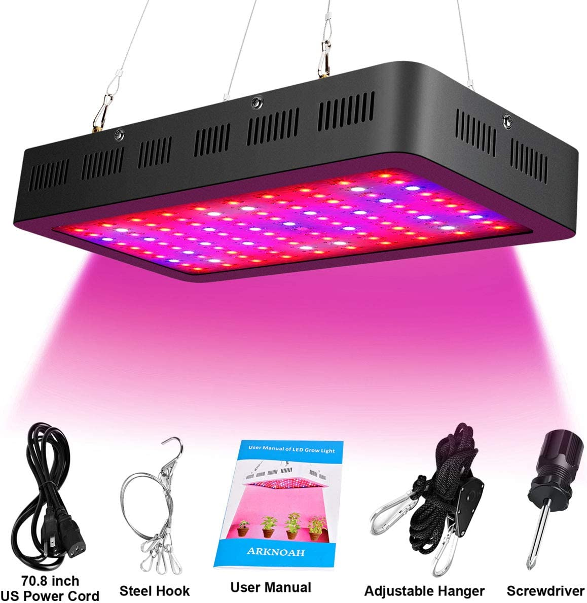 1500W LED Grow Light Bulb Full Spectrum for Indoor Plants with UV IR 8 Bands Color Growing Light Fixture Black