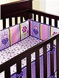 Baby Girls Purple Owl 6pcs Crib Bedding Set (bumpers,fleect blanket,musical mobile)