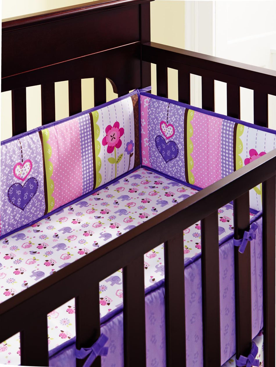 New Baby Girls Purple 9pcs Crib Bedding Set with musical mobile