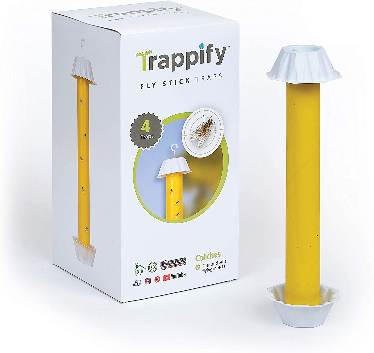 Trappify Hanging Fly Stick Traps: Indoor and Outdoor Hanging Fly Stick Trap with Hanging Hook - Fly, Gnat, Mosquito, and Flying Insect Catcher - Disposable Sticky Fly Trap for Pest Control - 4 Pack
