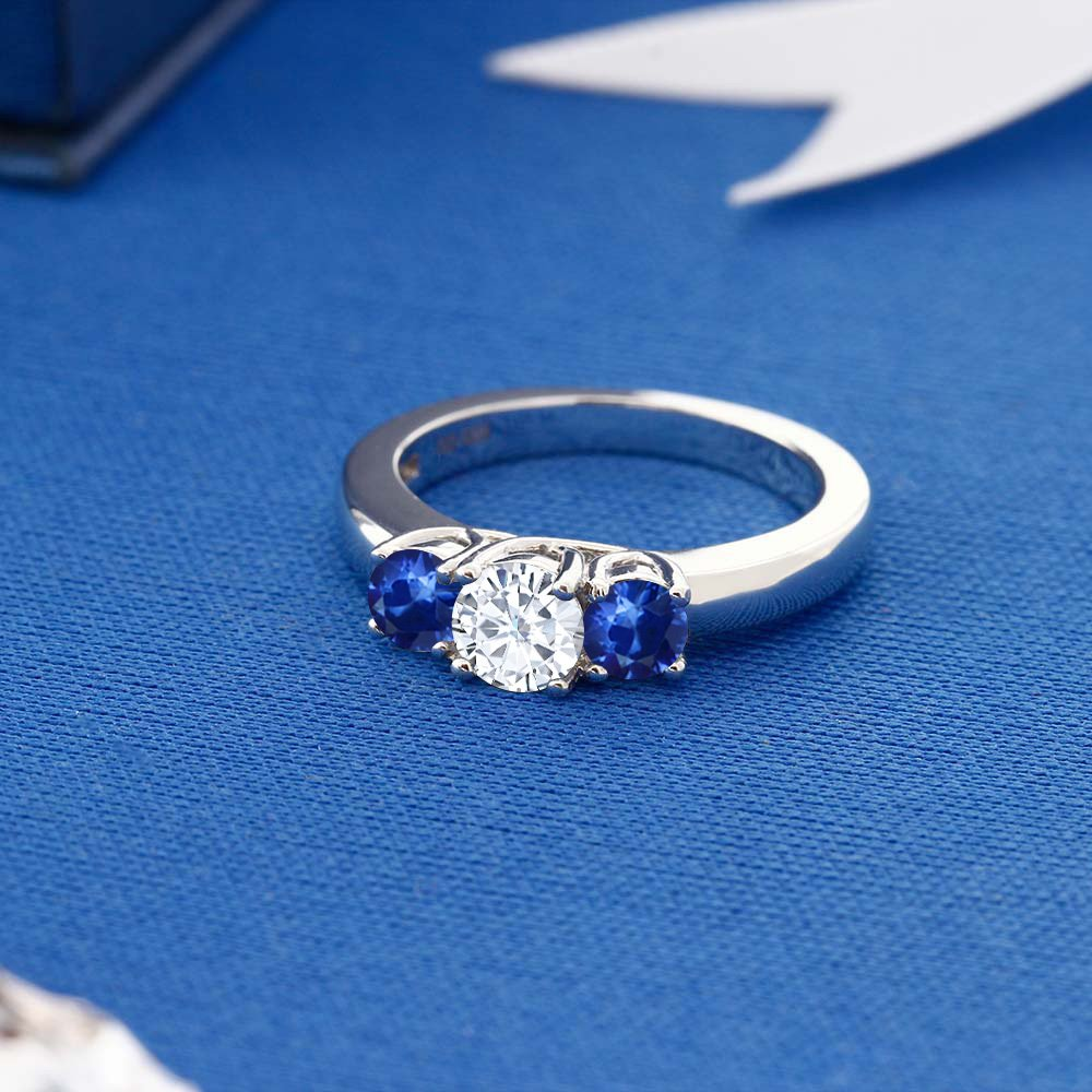 1.22 Ct Round White Created Moissanite Blue Sapphire 925 Sterling Silver Ring (Ring Size 7) by Gem Stone King (Image #3)