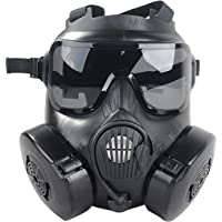 outgeek Men's Coxeer M50 Airsoft Full Face Skull CS Mask with Fan (Black, One Size)