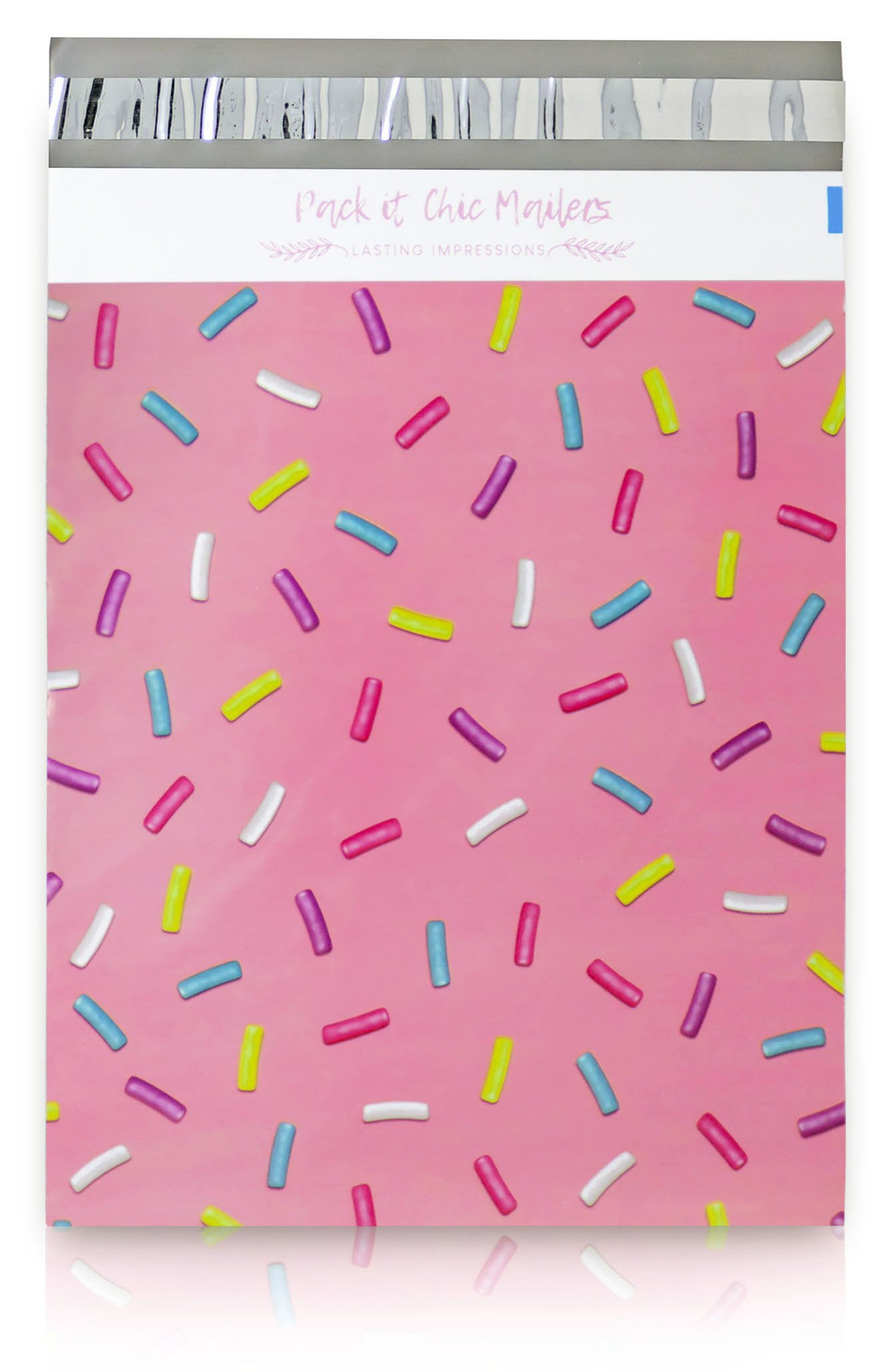 "Pack It Chic - 10"" X 13"" (100 Pack) Pink Sprinkles Poly Mailer Envelope Plastic Custom Mailing & Shipping Bags - Self Seal (More Designs Available)"