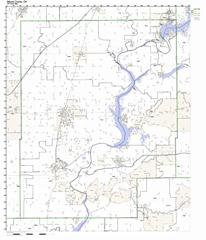 Mayes County, Oklahoma OK ZIP Code Map Not Laminated