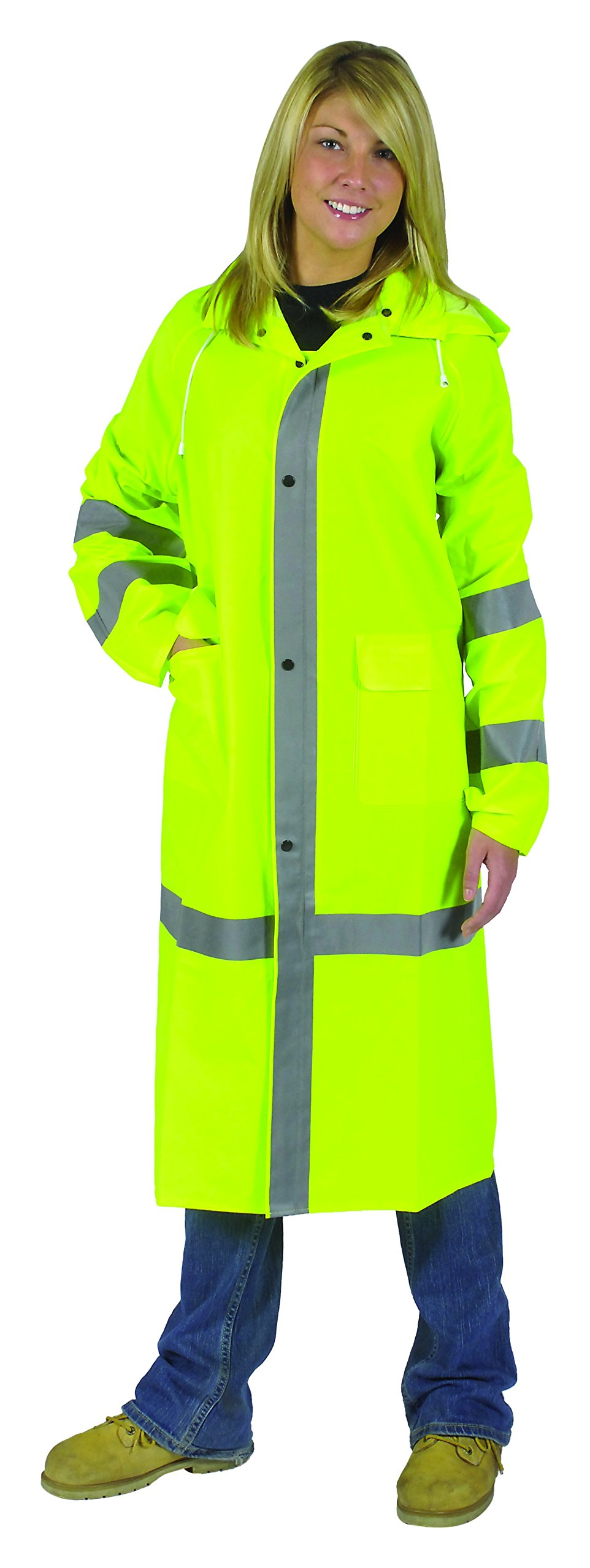 Galeton 8000965-XL-LI 8000965 Repel Rainwear Reflective 0.35 mm PVC Raincoat, 46'' Long, Lime, X-Large