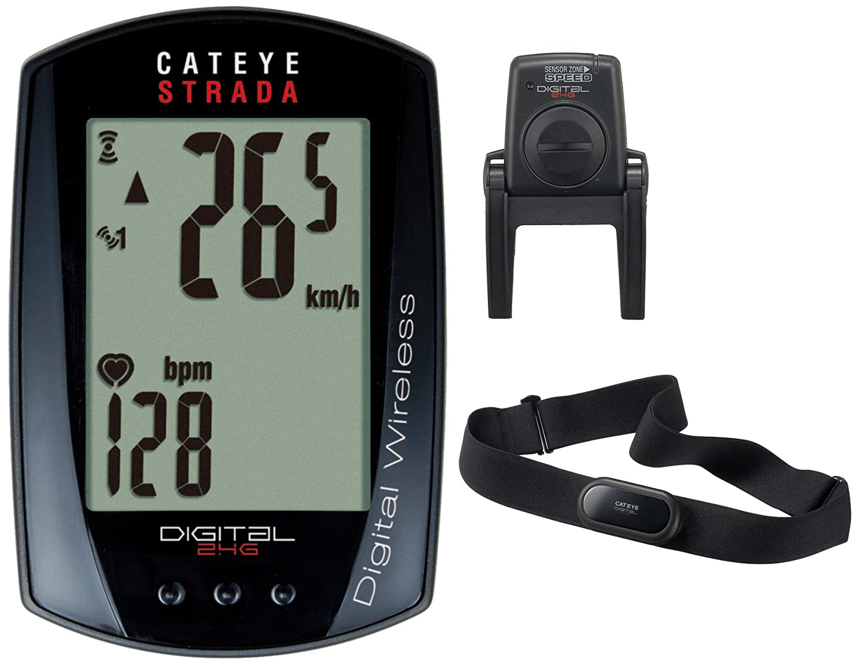 Cateye FA003524047 DIGI-W CC-RD420DW Strada - Ciclocomputador (2,4 GHz, con control de frecuencia cardíaca), color negro con control de frecuencia cardíaca)