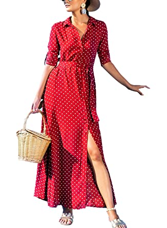 fddec40c637 Lovezesent Women's Sexy V Neck Botton Down Long Dress Vintage Polka Dot  Roll Tab Sleeve Split Flowy Maxi Shirts Dresses with Pockets Red Small at  Amazon ...