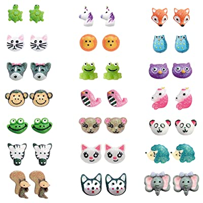 18 Pairs Cute Animals Zoo Resin Studs Earring Set, Hypoallergenic (21 Pairs): Clothing