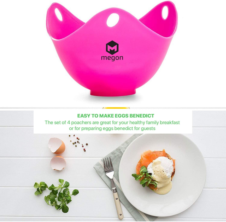 MEGON Moldes Para Escalfar Huevos - Set de 4 Tazas de Silicona Prémium Antiadherente Para Huevos Escalfados - Prepara Siempre Los Huevos Perfectos - ...