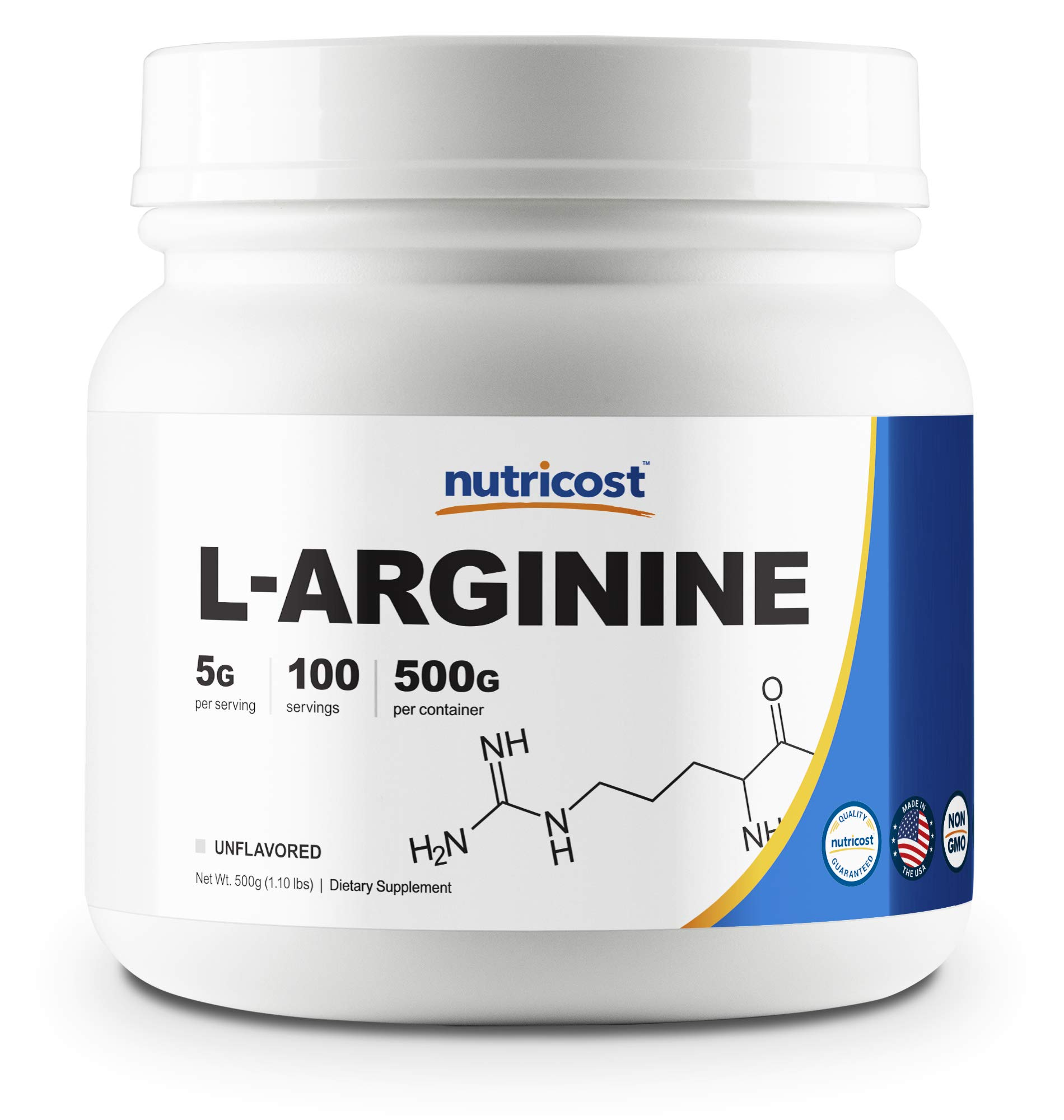 Nutricost L-Arginine Powder 500 Grams (1.1lbs) - Pure L-Arginine Powder - 5000mg Per Serving; 100 Servings by Nutricost