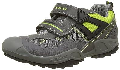 Geox New Savage A, Sneakers Basses Garçon, Gris (DK Grey/Lime), 36 EU