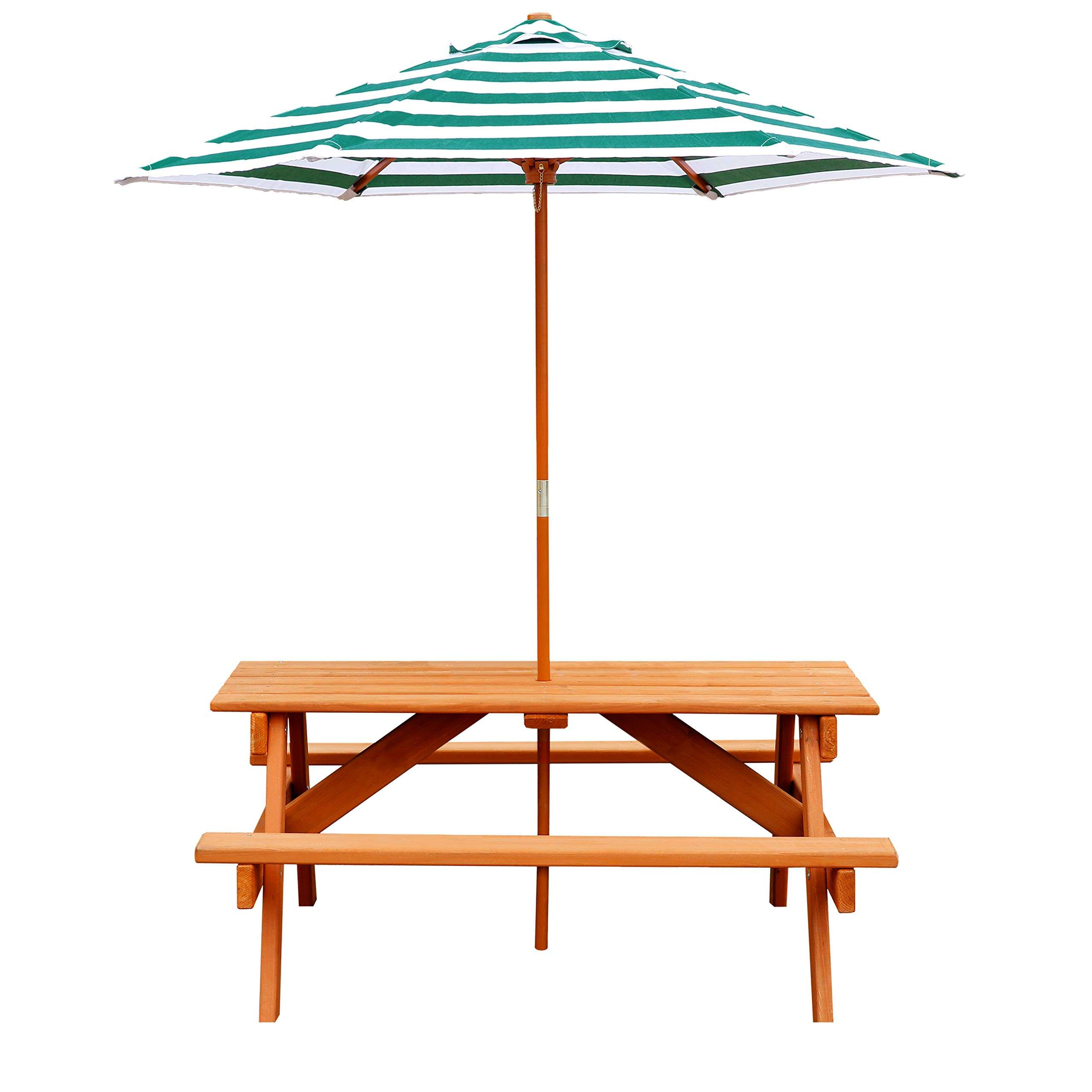 Jur_Global Wooden Children's Picnic Table with Umbrella