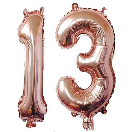 Amazon.com: 40 inch oro rosa Foil 13 helio Jumbo número ...