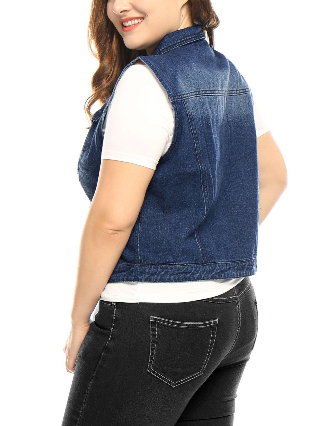 uxcell Women Plus Size Slim Fit Denim Vest Blue 1X by uxcell (Image #4)