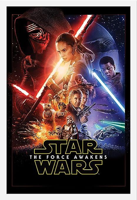 Star Wars EP7 One Sheet Episode7 Das Erwachen der Macht Poster Plakat Größe  61x91,5cm + Wechselrahmen, Shinsuke® Maxi MDF Weiss, Acryl-Scheibe