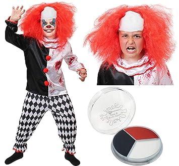 ILOVEFANCYDRESS Disfraz de Payaso para niños Disfraz Disfraz - Disfraz de Payaso Disfraz de Halloween con Peluca y Pintura Facial (Small)