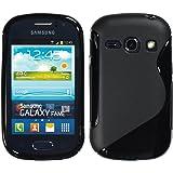 PhoneNatic Case für Samsung Galaxy Fame Hülle Silikon schwarz S-Style Cover Galaxy Fame Tasche + 2 Schutzfolien