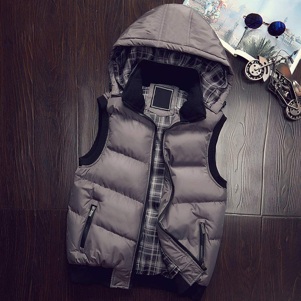 Mens Padded Sleeveless Jacket Hoodie Quilted Outdoor Windproof Vest Waistcoat ZEVONDA Mens Body Warmer Gilet